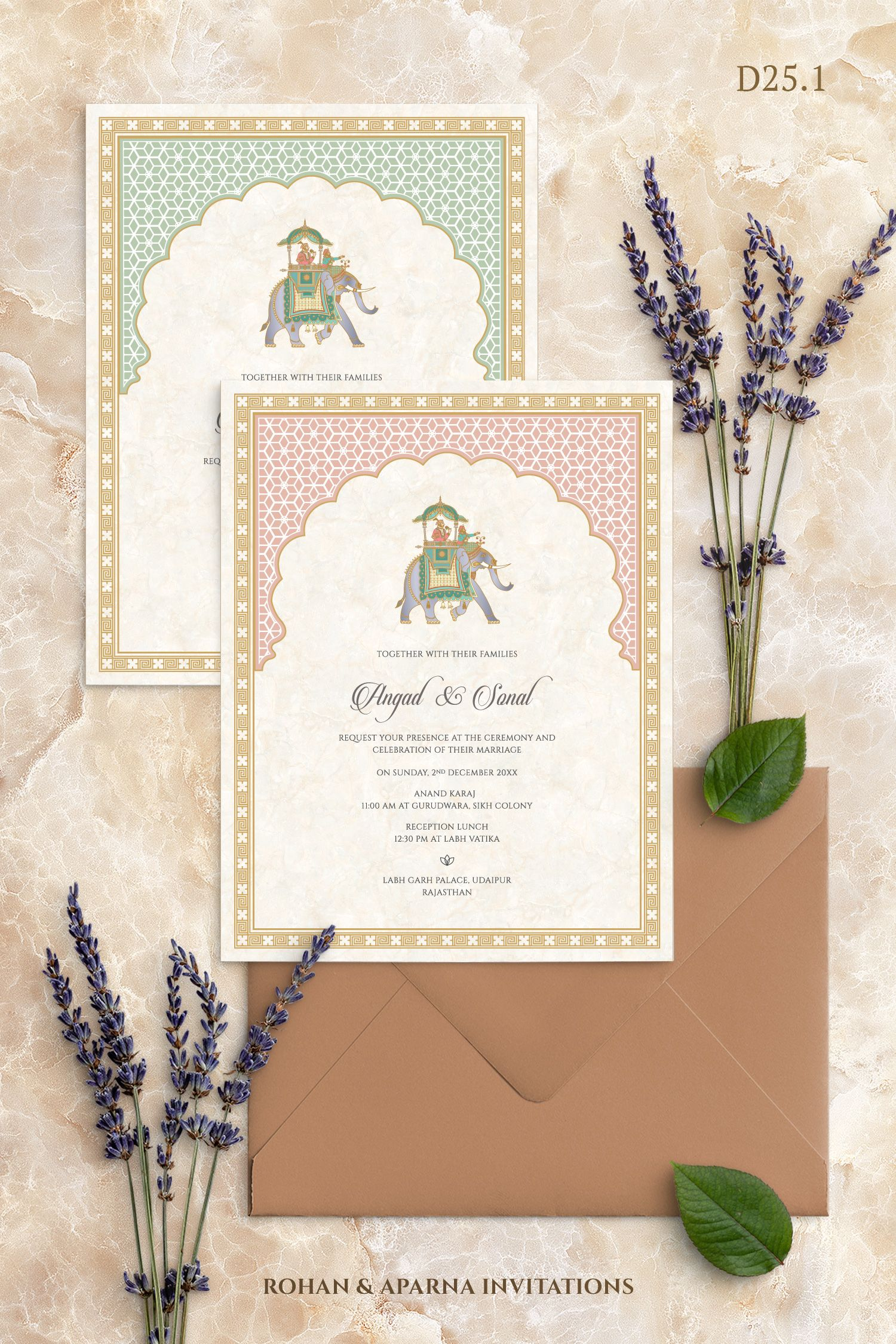 Pastel Arches Themed Wedding Invitation Concept With An Elephant Mot Indian Wedding Invitation Cards Hindu Wedding Invitation Cards Elephant Wedding Invitation