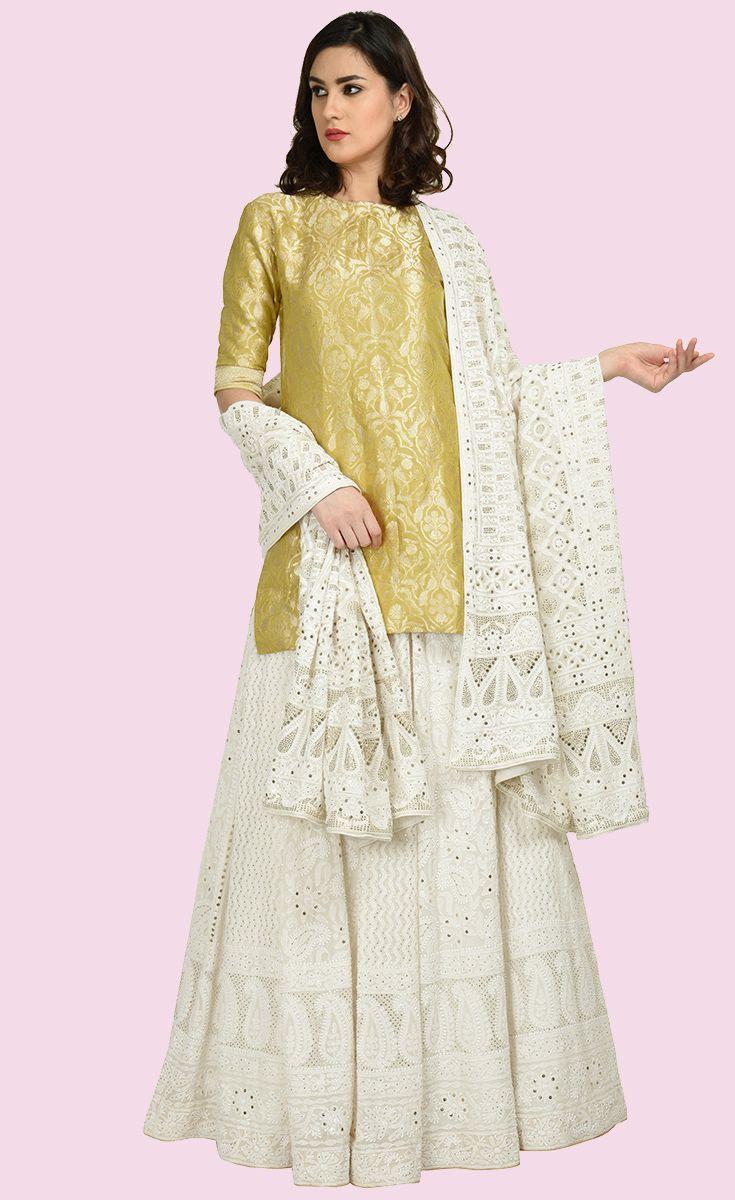 d9f163b857 Electric Lime Banarasi Zari Top With Chikankari Lehenga Skirt & Dupatta