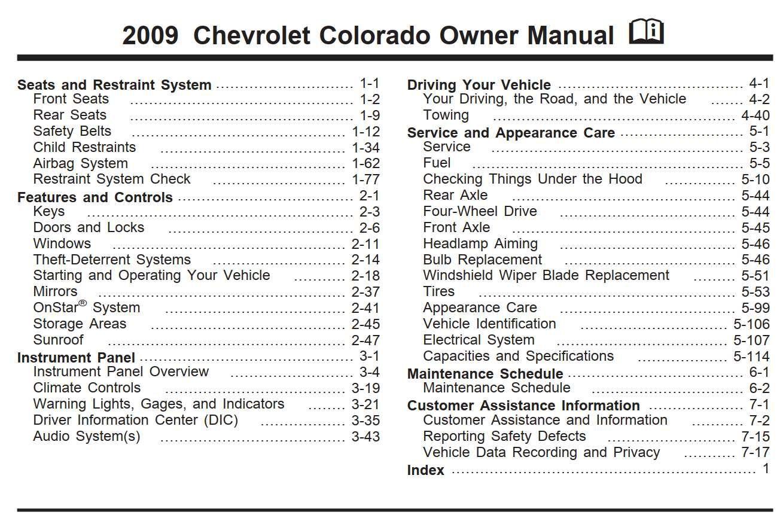 Chevrolet Colorado 2009 Owner S Manual Has Been Published On Procarmanuals Com Https Procarmanuals Com Ch Chevrolet Silverado Chevrolet Impala Owners Manuals