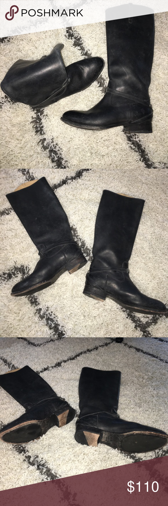Frye Boot sz 9 tall riding black leather Frye Boots. Sz 9. Leather. Nice! Frye Shoes