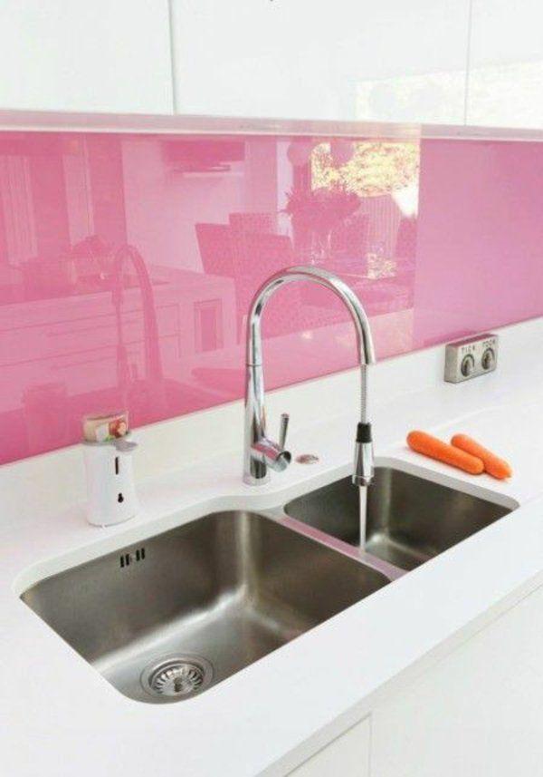 Fliesenspiegel Glas Rasa Pink Spritzschutz Küche | Küche