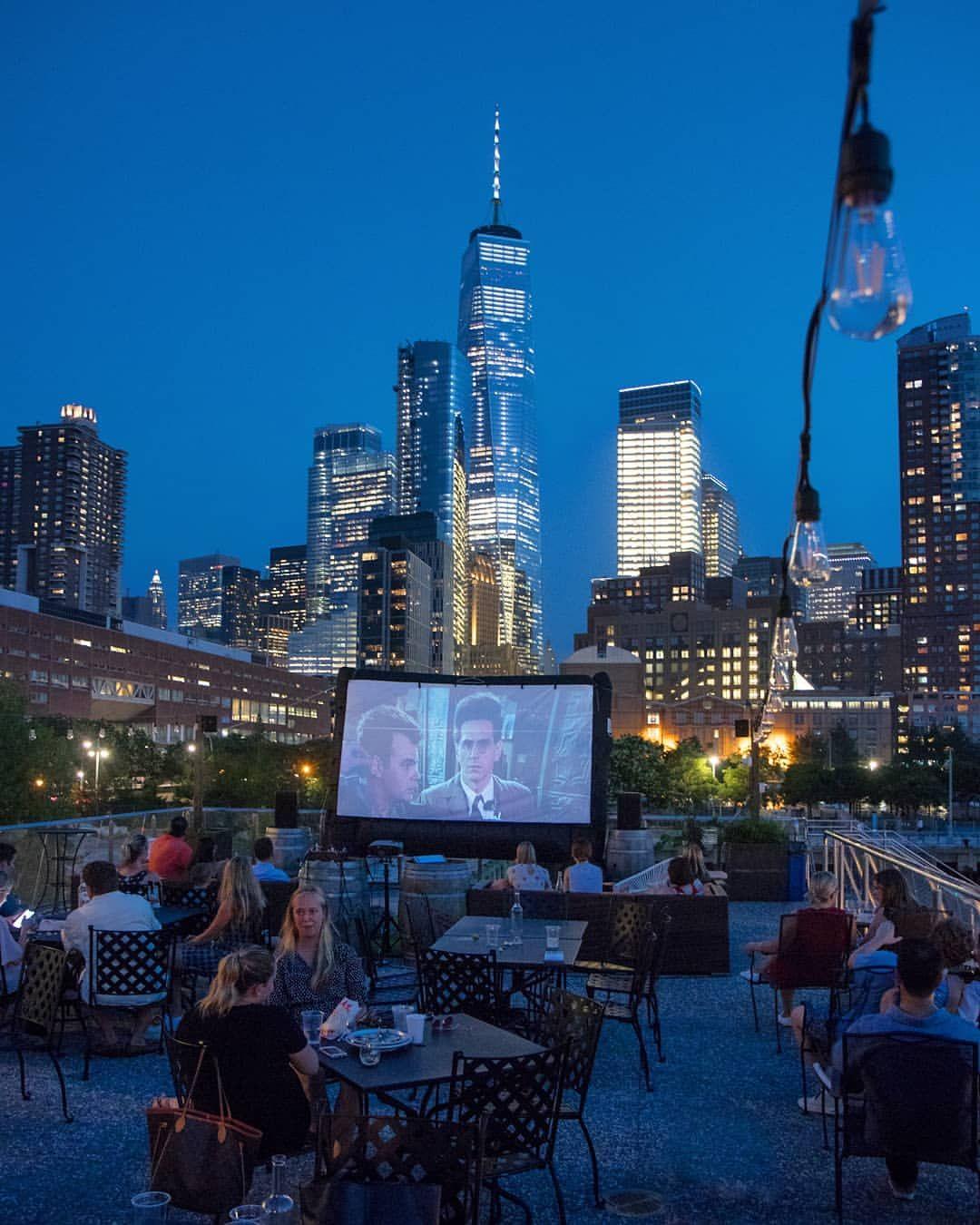 Monday Rooftop Movie Nights At City Vineyard On Pier 26 Lowermanhattan Outdoormovie Ghostbusters Newyor Rooftop Cinema New York Architecture Rooftop