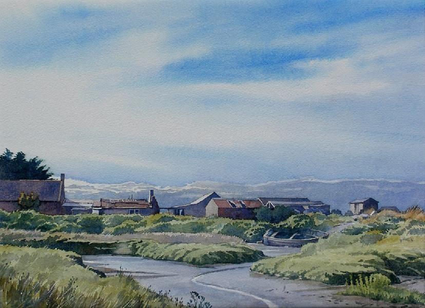 Fishermens Huts, Brancaster (watercolor by Brian Robinson)