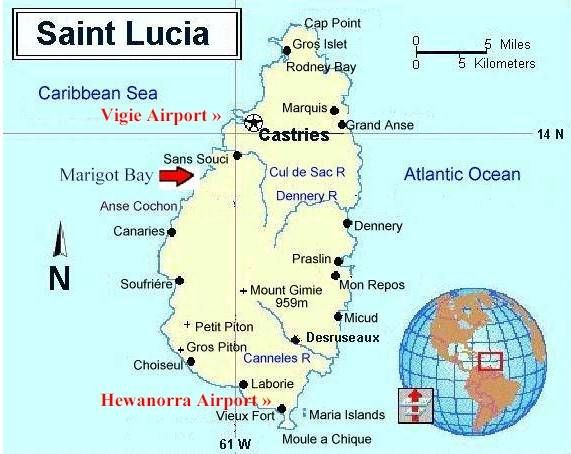 Map of St Lucia Caribbean Bermuda Maps Pinterest Saint