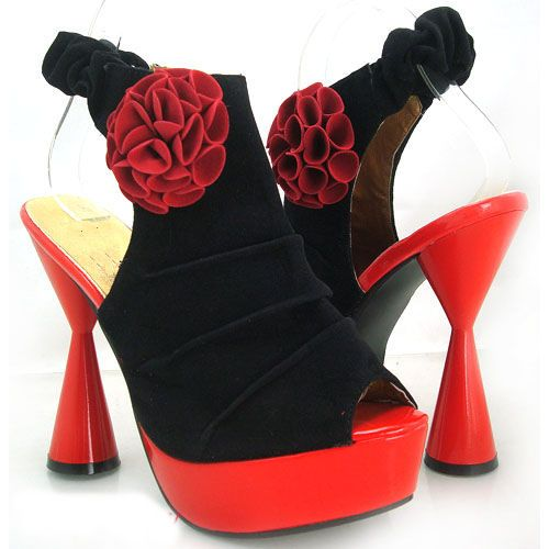 Black Red Flower Ruched Peeptoe Platform Shoes , we love these, £35.99 omg www.heelerdealers.com