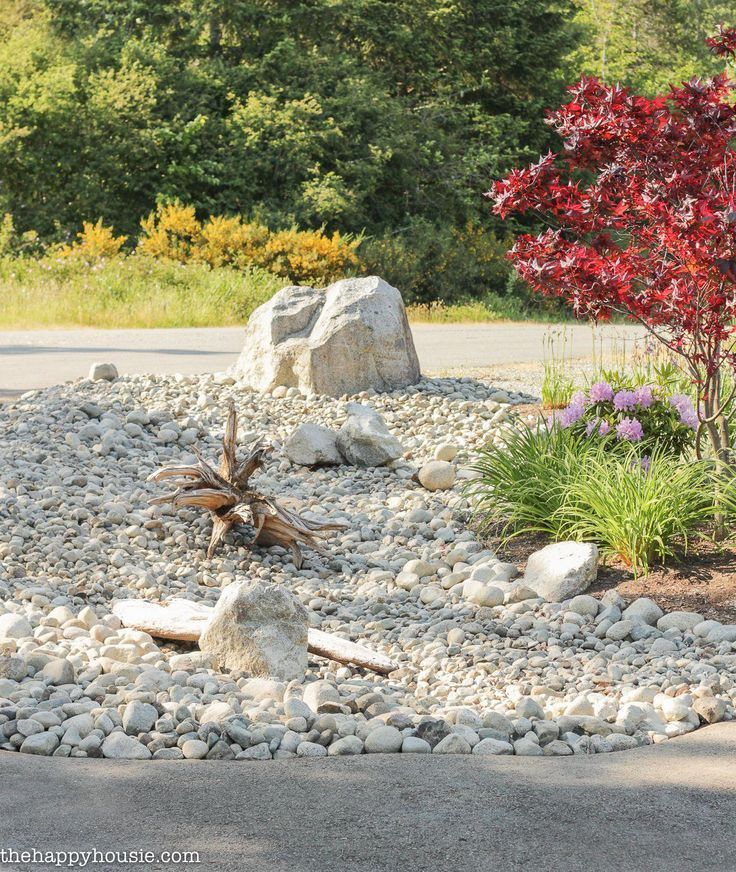 Create a beautiful and low maintenance garden incorporating river rock; landscap #riverrocklandscaping