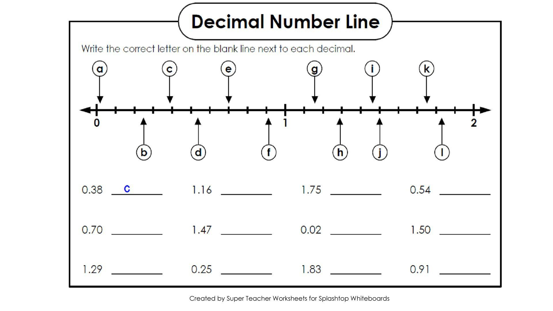 Blank Number Line Worksheet Copy Decimals A Numberline