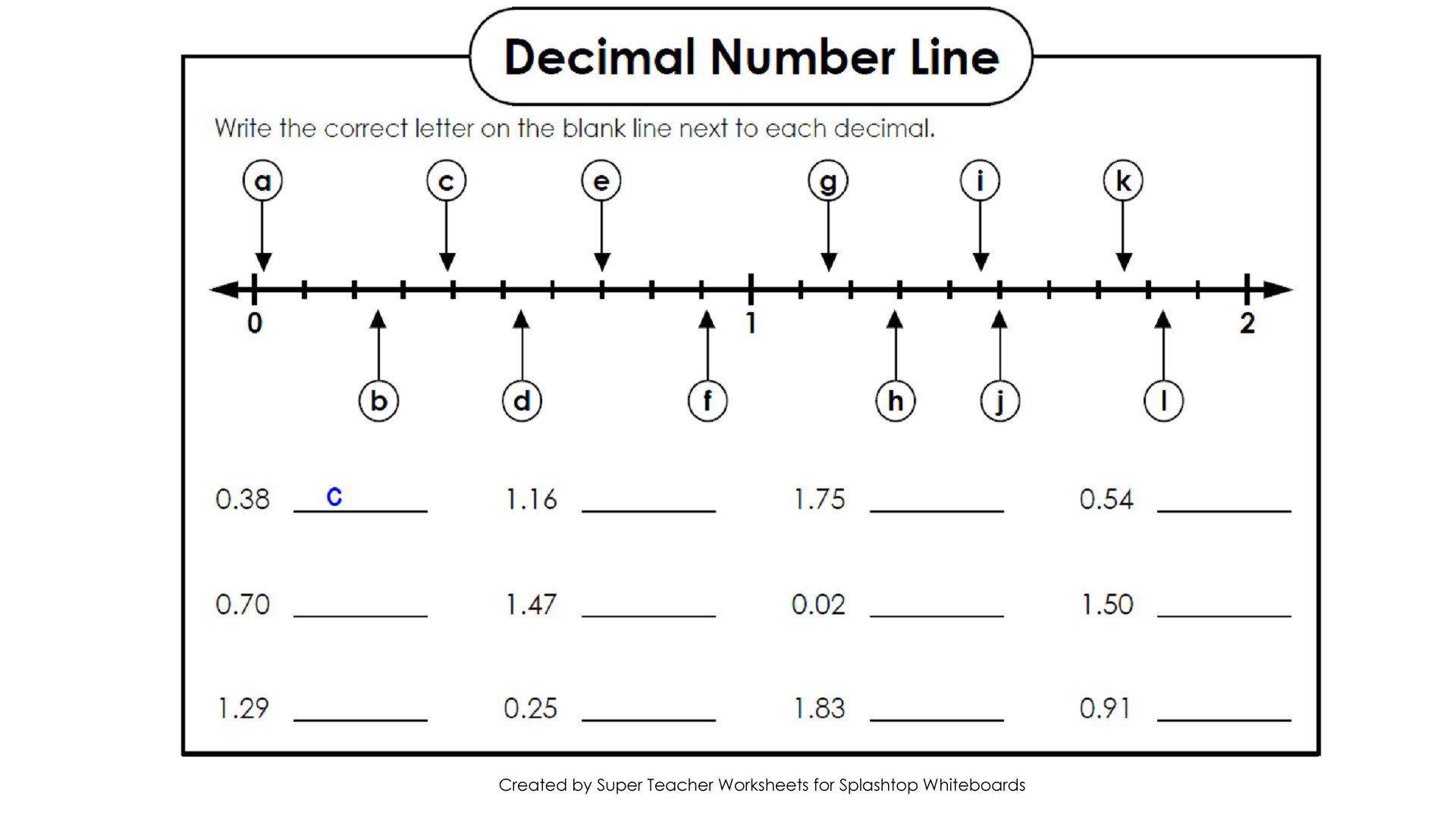 Blank Number Line Worksheet Copy Decimals A Numberline