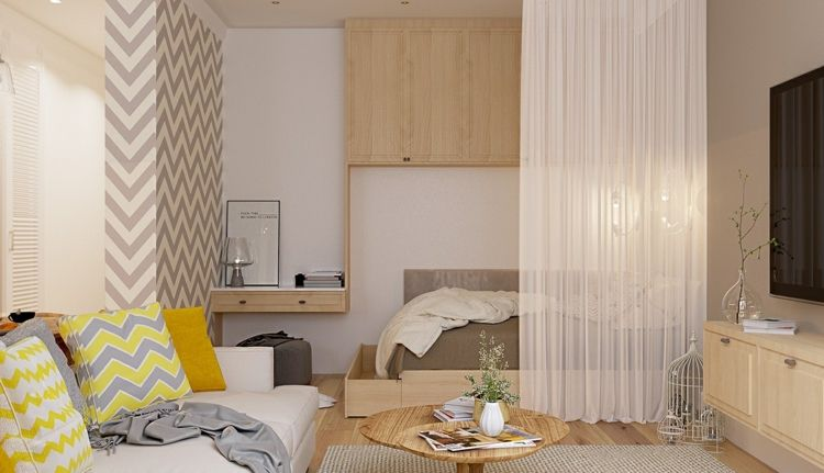 bett im wohnzimmer integrieren gelb grau zickzack muster ...