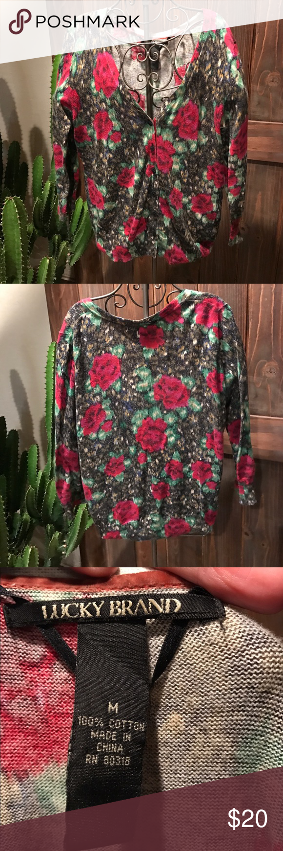 Lucky brand cardigan Floral lucky brand lightweight cardigan Lucky Brand Sweaters Cardigans