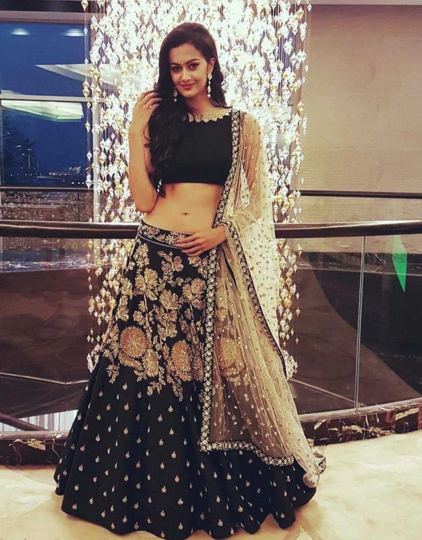 Beautiful Indian Wedding lehenga choli in Black and Gold
