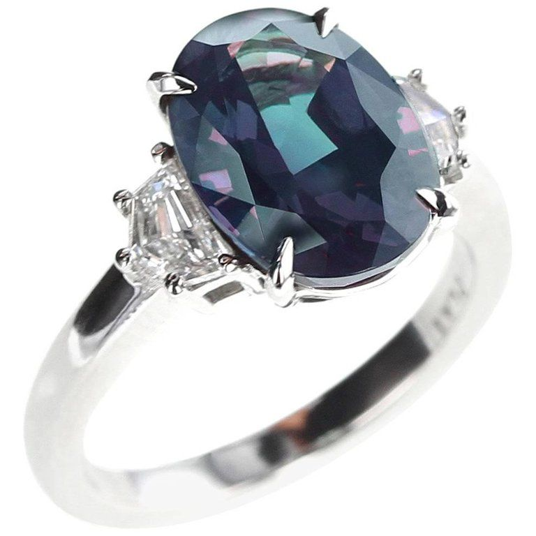 694c9a14e207d 5 Carat Natural Brazil Alexandrite and Diamond Three-Stone Platinum ...