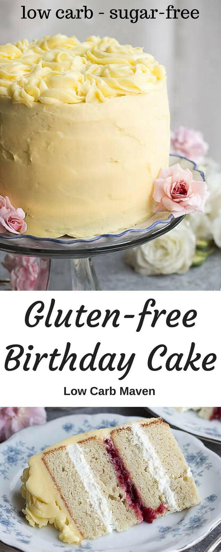 A pretty glutenfree birthday cake recipe with moist low carb cake