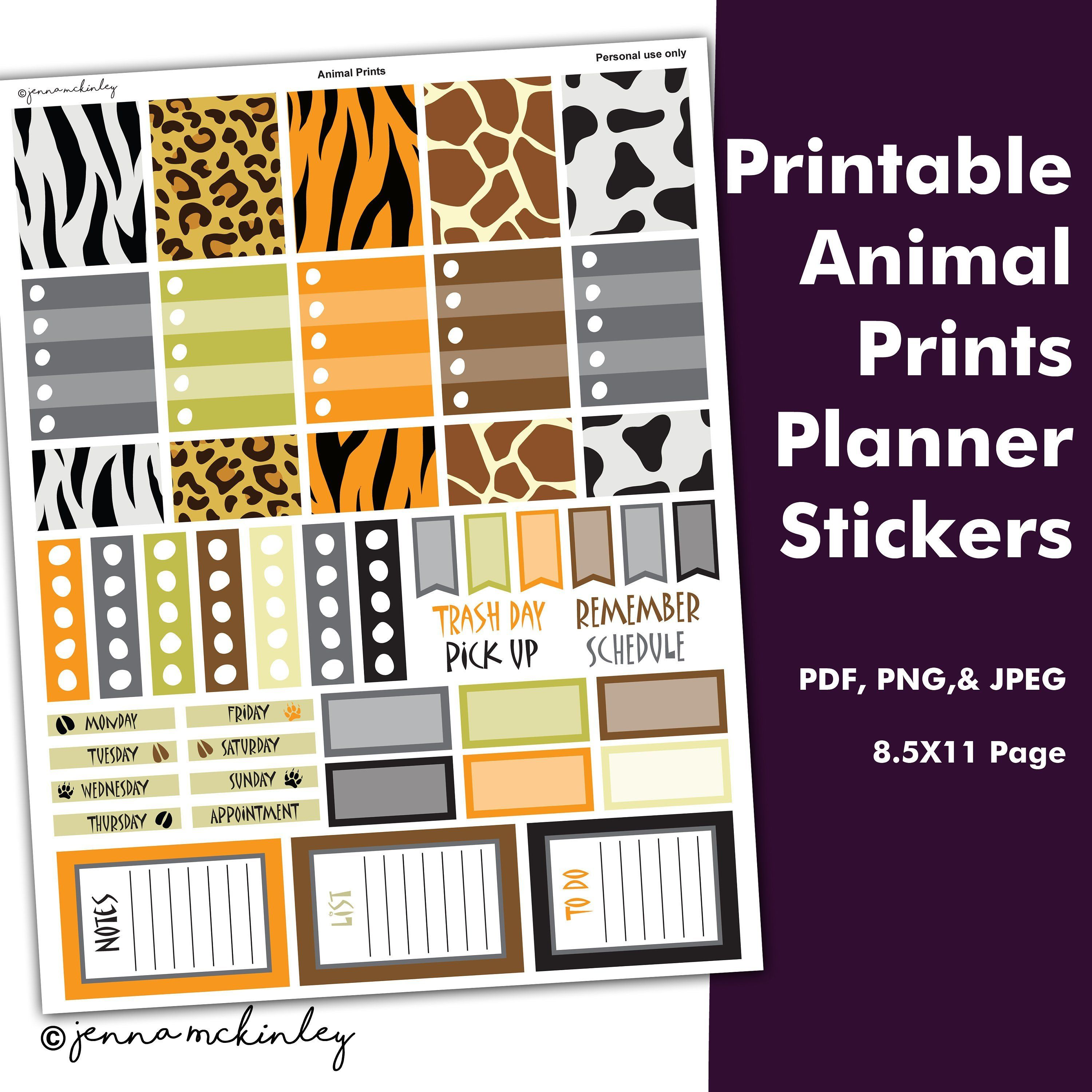 Printable Planner Stickers Animal Print Theme Instant Download Bullet Journal Bujo Weekly Spre Label Printing Stickers Printing Labels Planner Stickers