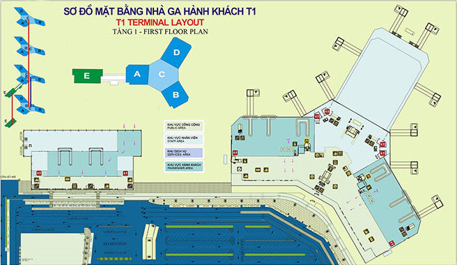 Sơ đồ nhà ga T1 sân bay Nội Bài