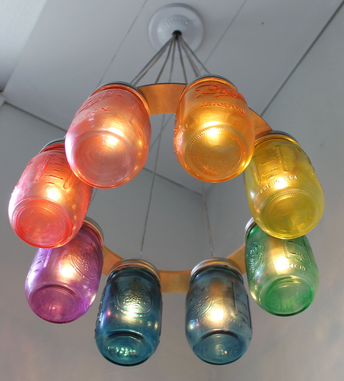 Rainbow connection mason jar chandelier upcycled hanging mason home decor ideas diy rainbow mason jar chandelier diy chandelier made making use of rainbow tint mason jars arubaitofo Images