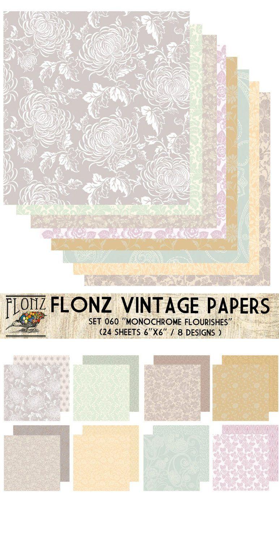 Amazon.de: Paper Pack (24blatt 15x15cm) Monochrome Flourishes FLONZ Vintage Muster Papier fur Scrapbooking und Handwerk
