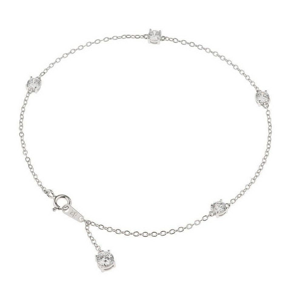 Qvc Epiphany Platinum Clad Sterling Round Diamonique 11 Ankle Bracelet 574k