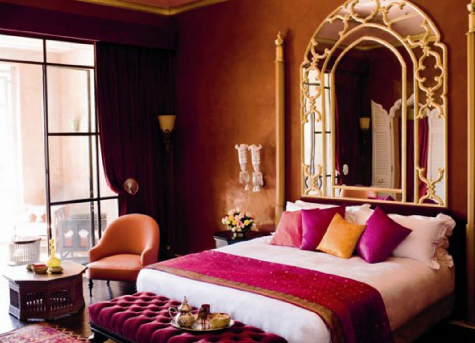 Bedroom , Attractive Moroccan Themed Bedroom : Moroccan Themed Bedroom With  Large Mirror And Ottoman And