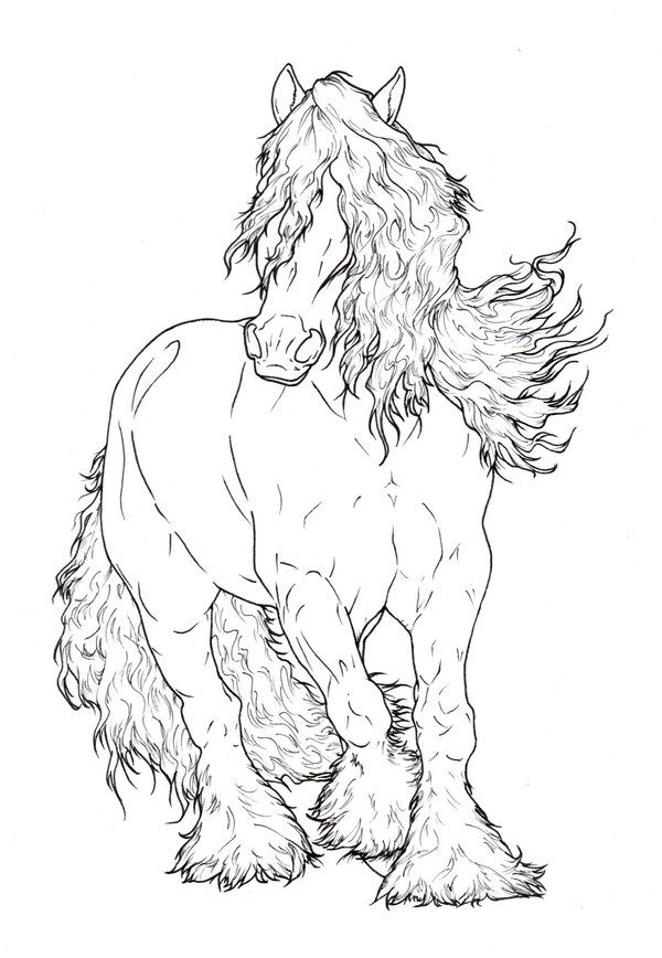 Gypsy Vanner LineArt by ReQuay | A STITCH IN TIME FARM ANIMALS ...