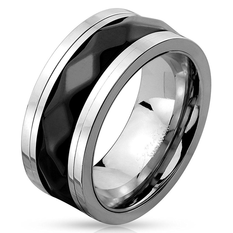 STR0420 Stainless Steel TwoTone Diamond Pattern Black IP