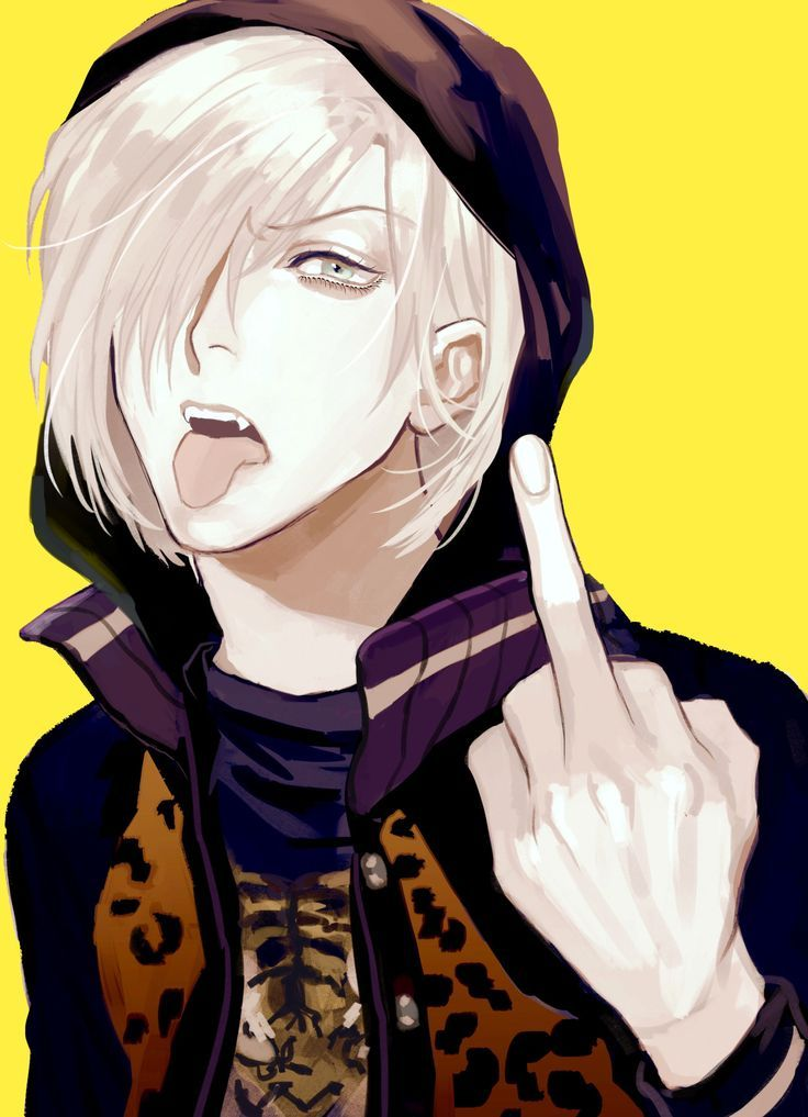 Absurdres Blue Eyes Fangs Hair Over One Eye Highres Hood Jacket Male Focus Middle Finger Solo Supocon Tongue Out White Yellow Background Yuri