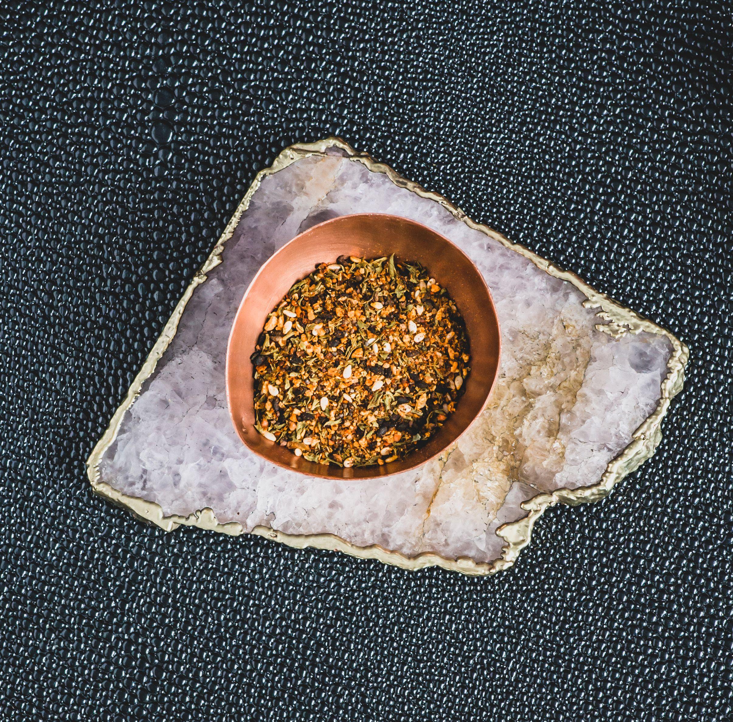Bourbon barrel wood smoked togarashi juniper culinary