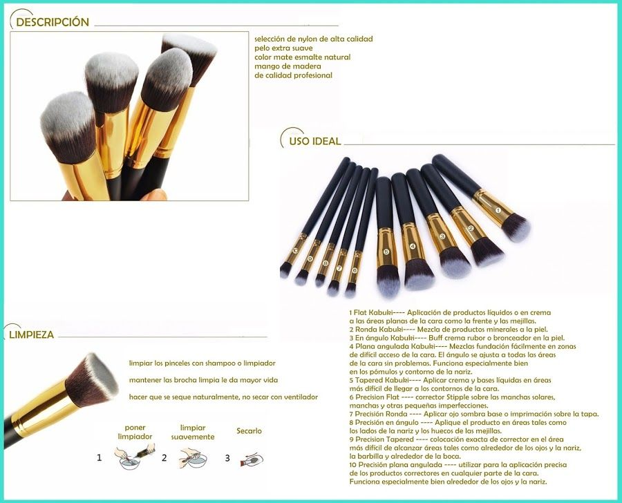 5e3b84dae30b2 Set 10 Brochas Maquillaje Profesional Kabuki Unicornio Oval ...