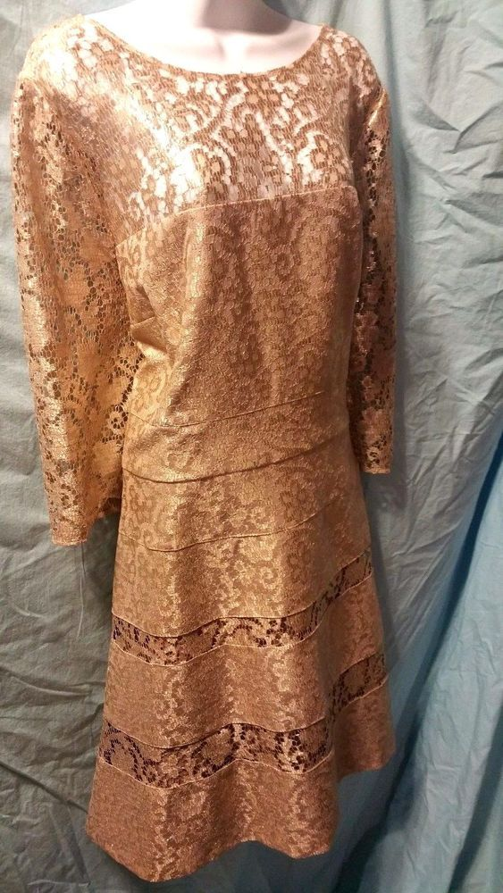 Kay Unger Gold Lace Fit & Flare Dress Cocktail Wedding Size 20 Retails for $500 #KayUnger #FitandFlareCocktail #Cocktail
