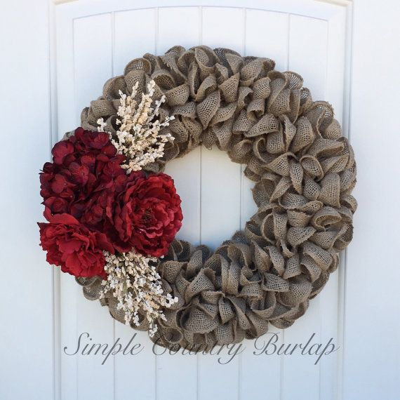 Photo of Stunning Christmas burlap wreath accented by SimpleCountryBurlap