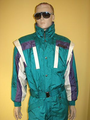Vintage Retro Descente Ski Suit Onesie 80s 90s Mens Large