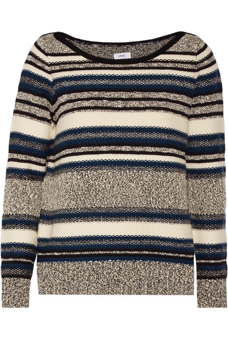 VINCE Bouclé-trimmed wool-blend sweater. #vince #cloth #sweater