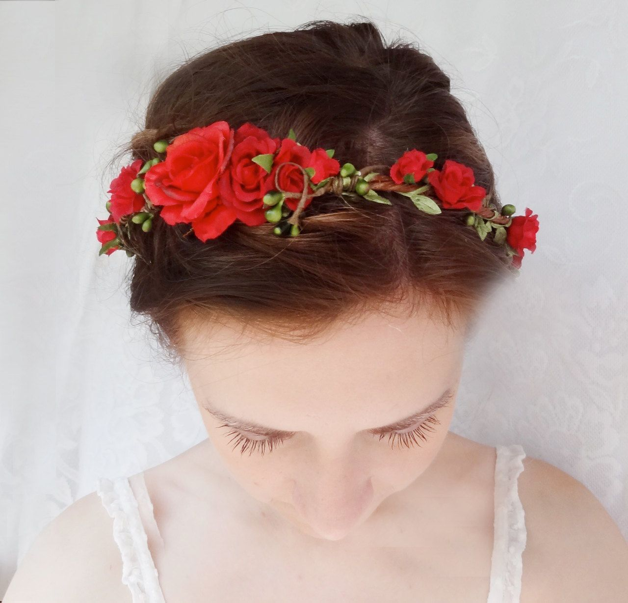 red flower hair circlet, red flower headband, bridal hair