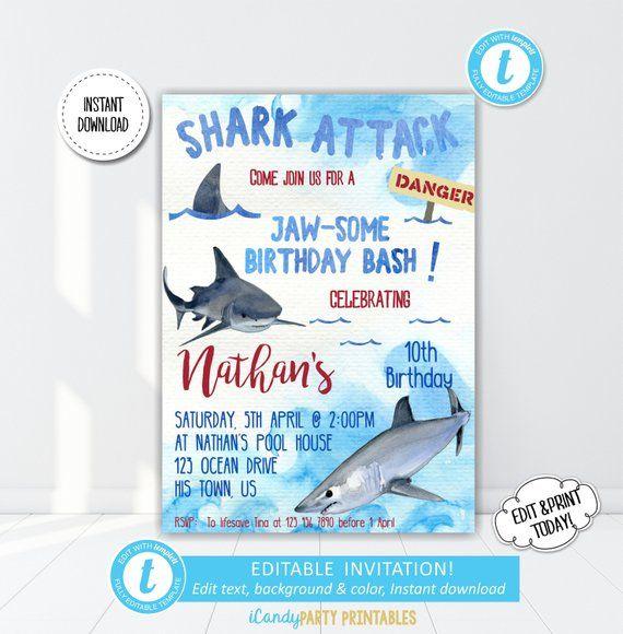 Shark Birthday Invitation Boy Invite Printable Boys Themed Party Pool Jaws Templett