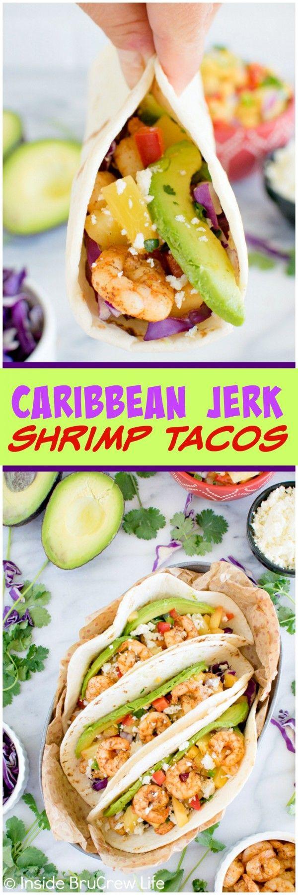 Caribbean Jerk Shrimp Tacos - spicy shrimp, fruit salsa, veggies, & cheese make these tacos a delicious dinner idea. Great fresh recipe! #jerkshrimp