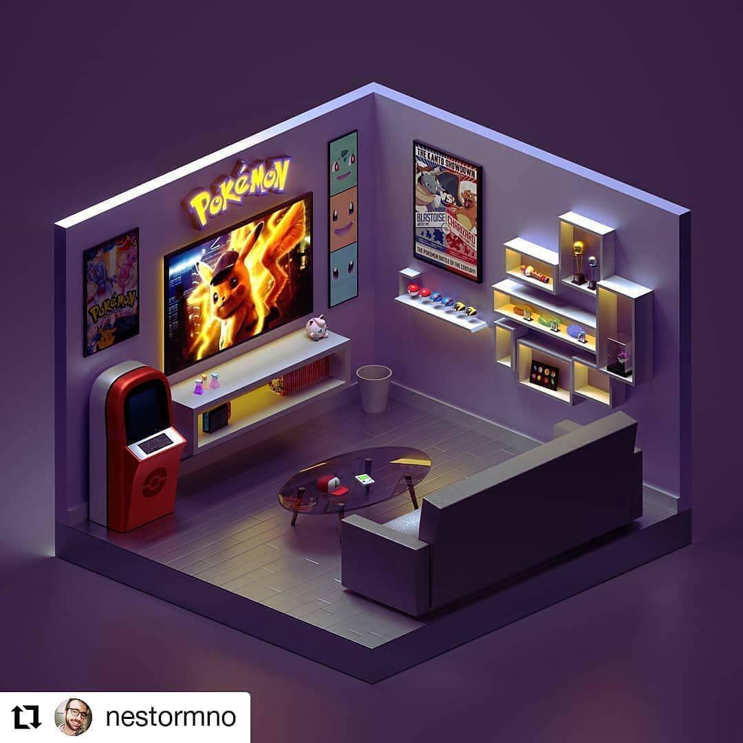 Gamingsetups On Instagram Awesome Pokemon 3d Room Follow Gamingforsetups For More 3d Setups Tag Your Friend Pokemon Room Gaming Room Setup Game Room Design