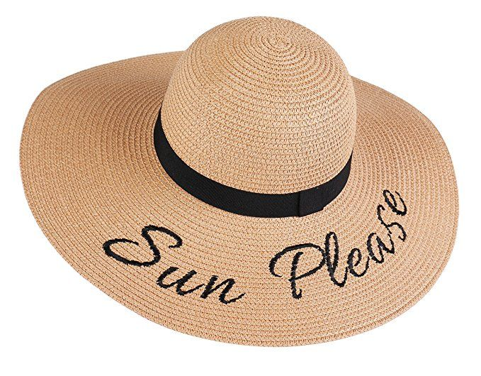 Kaisifei Beach Embroidered Quote Floppy Brim Sun Hat (Black) at Amazon  Women s Clothing store  6b66a6510ab5