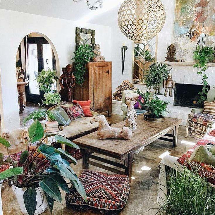 Boho Decor · Indoor Rainforest. Living Room Plants ...