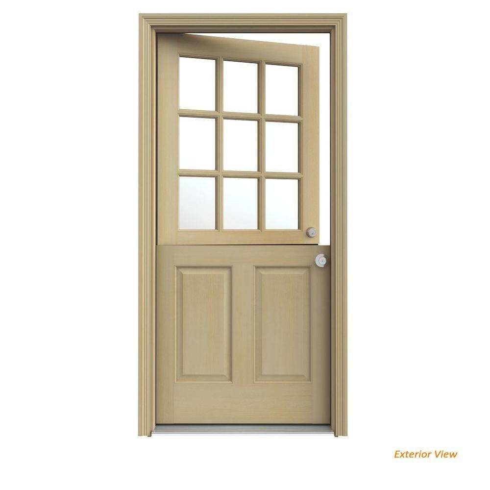 Jeld Wen 30 In X 80 In 9 Lite Unfinished Wood Prehung Left Hand Inswing Dutch Back Door With Auralast Jamb And Brickmold O10556 The Home Depot Jeld Wen Prehung Exterior Door Front Door