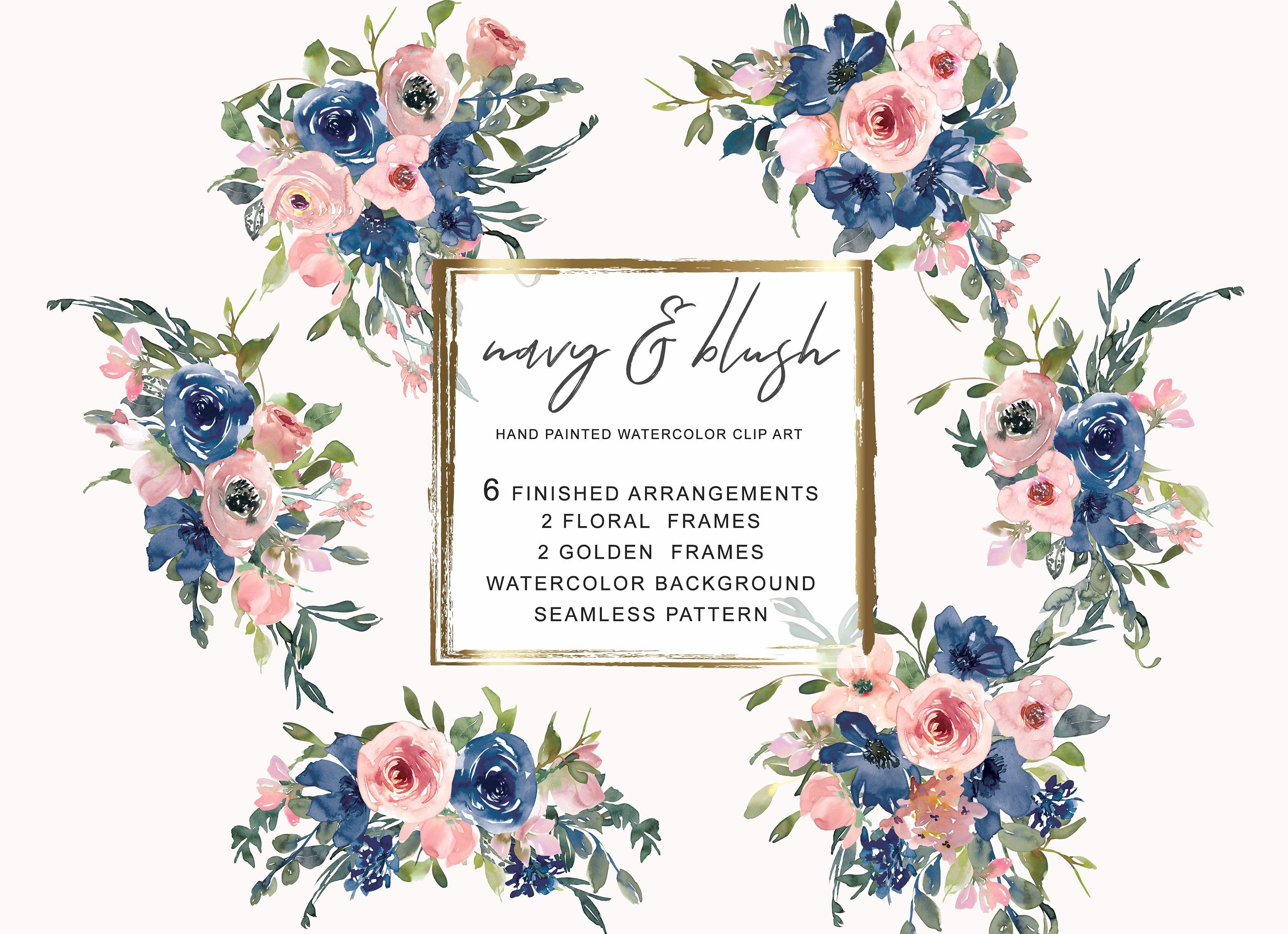 Watercolor Navy And Blush Floral Bou Clip Art Floral Bouquets
