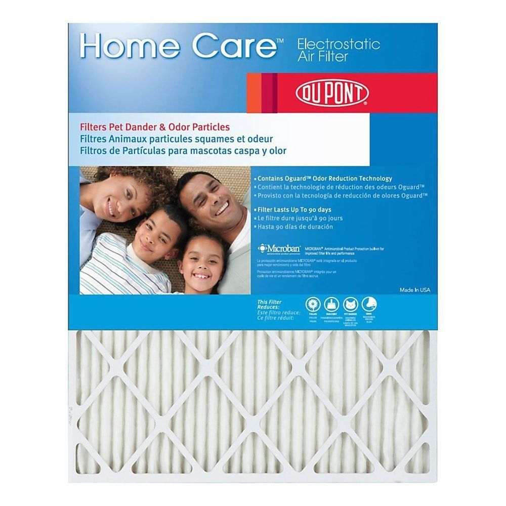 "DuPont Home Care Electrostatic Air Filters, 20""H x 20""W x"