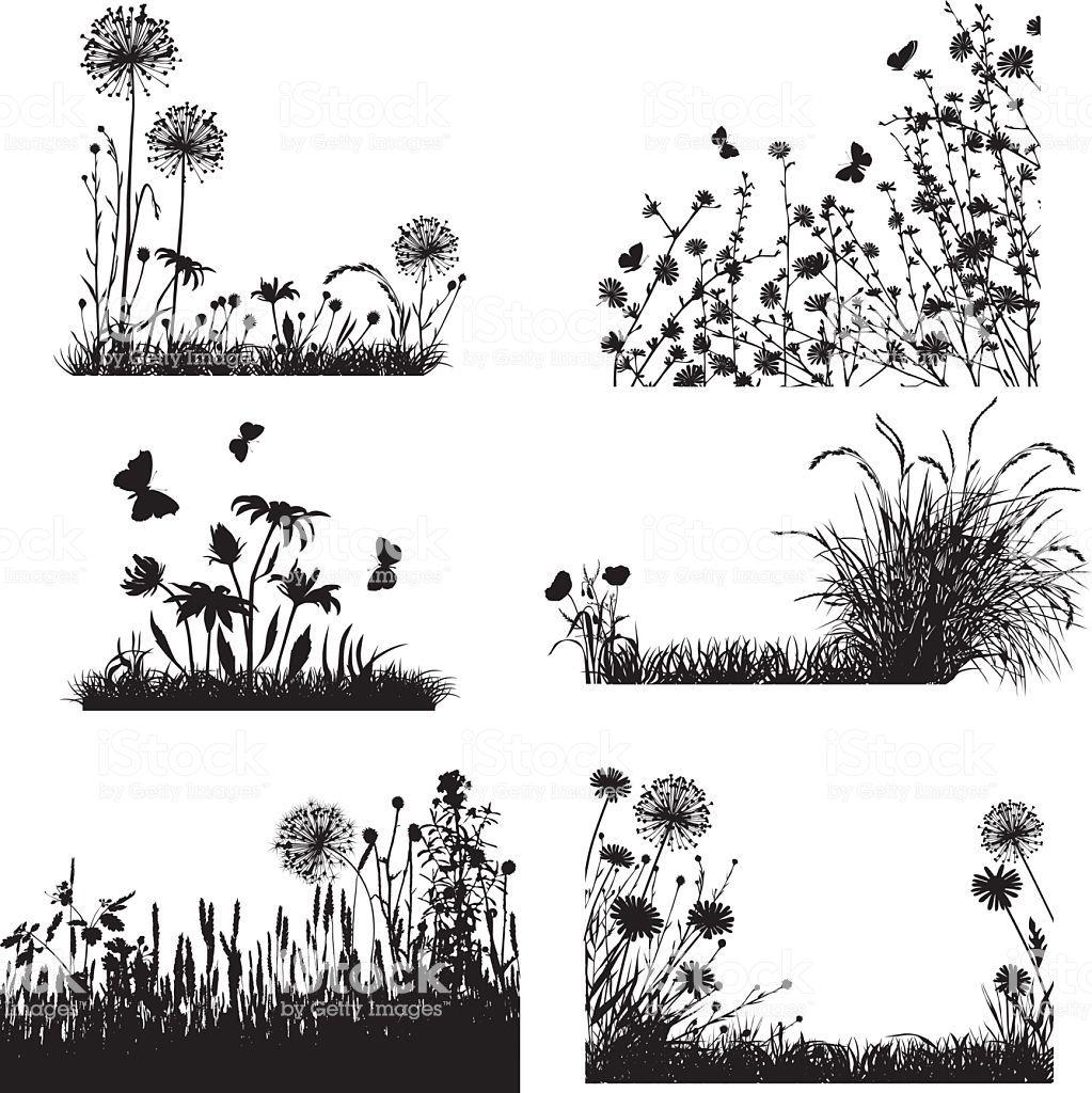 Plants and flowers silhouettes | Illustration vectorielle, Peinture de silhouette, Dessin paysage