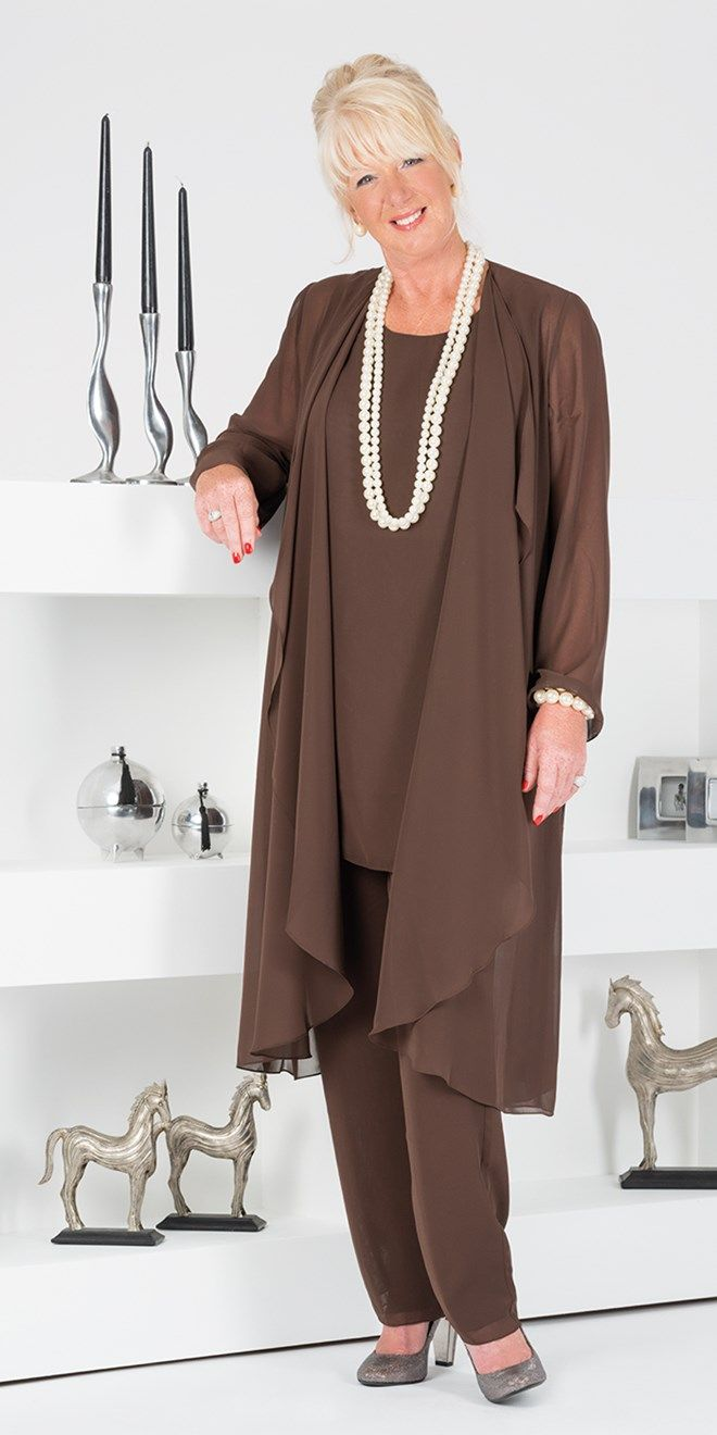 Veromia Brown Chiffon Coat Vest And Trouser Ladies