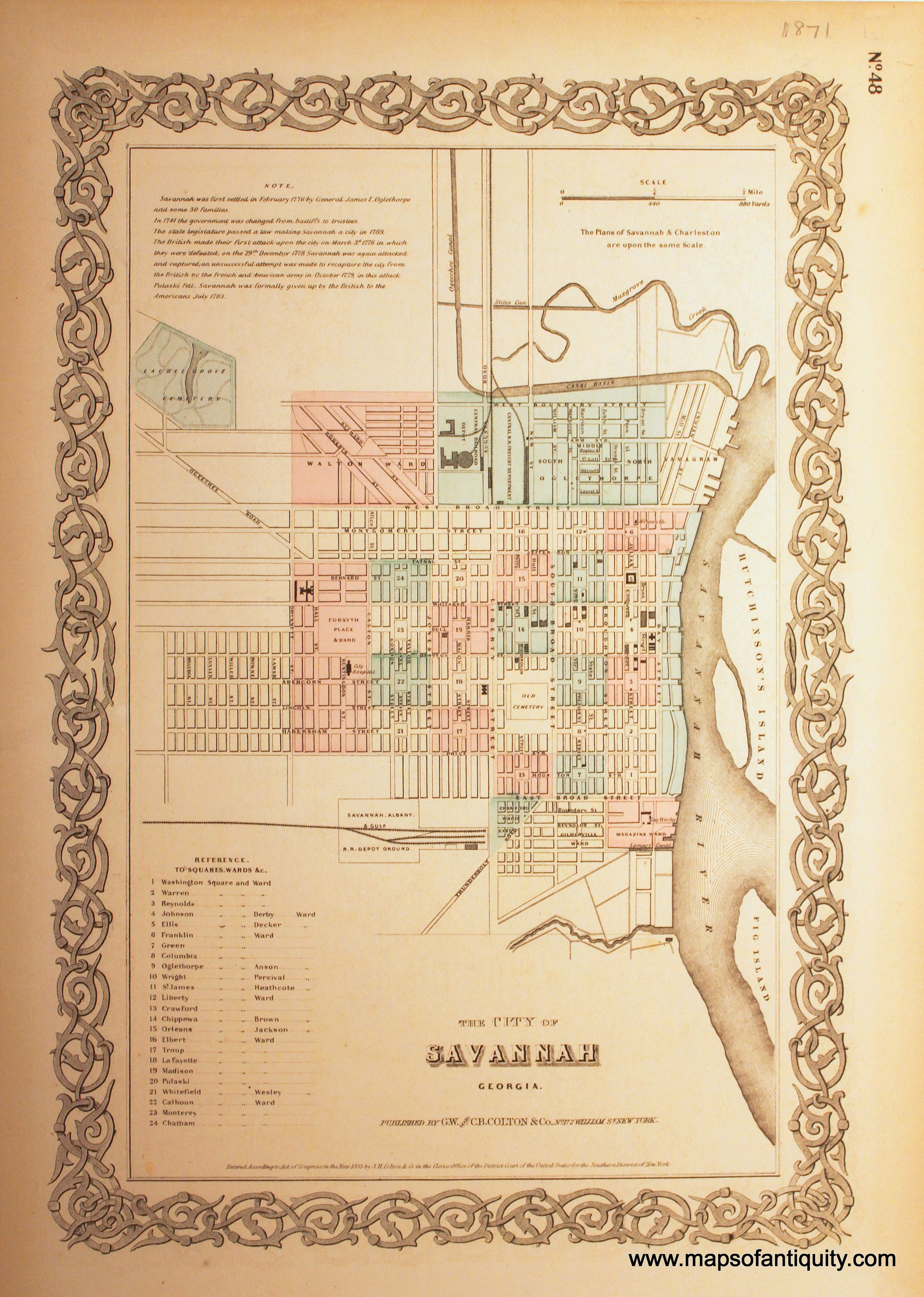 The City of Savannah Georgia Reproduction Antique Maps and