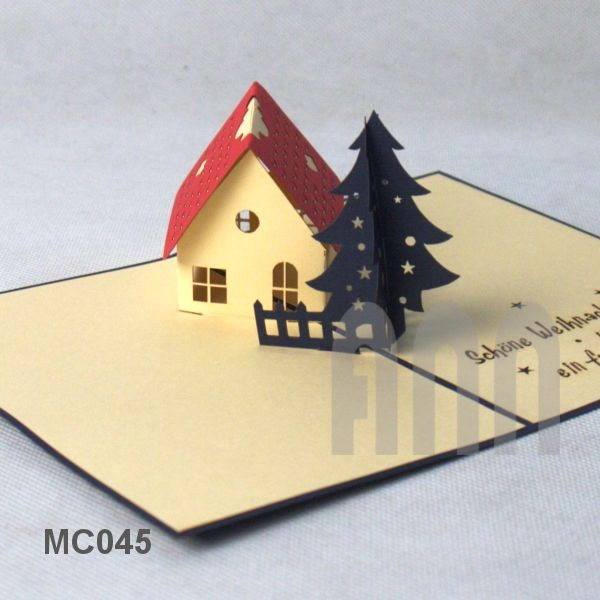 3d christmas house pop up greeting card 1