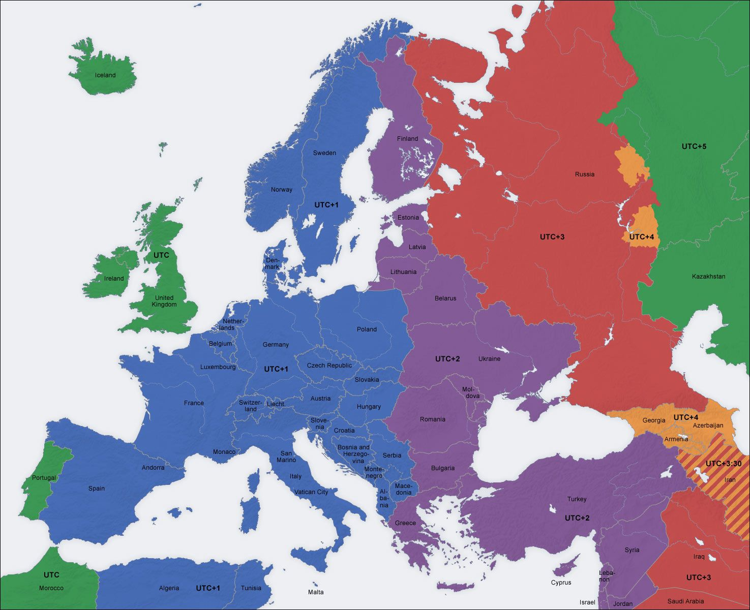 Europe Map Time Zones UTC UTC WET Western European Time Zone