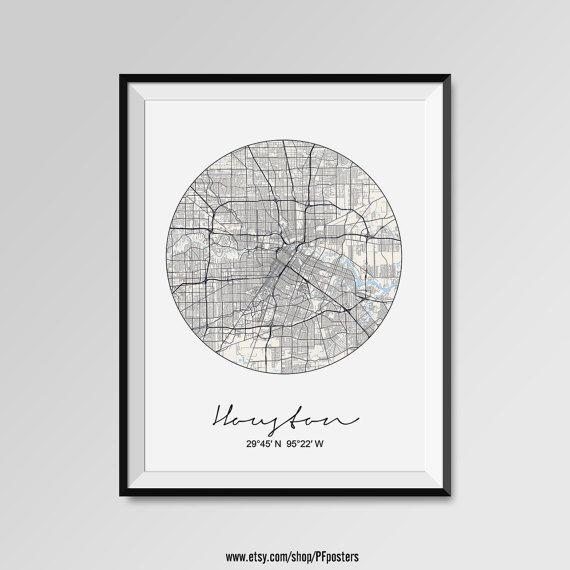 HOUSTON Map Print Modern City Poster Black and White Minimal Wall