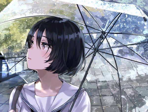 Black Haired Anime Student Schoolgirl Rain Cenario Anime