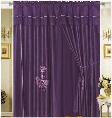 Pair Of Dark Purple Embroidery Windows Curtain D Panels With Valance And Attached Sheer Lining Read More Home Decor At The Image Link