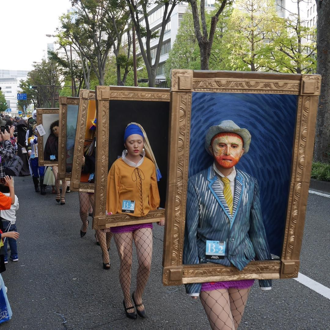Photo of People in Japan Dressed Up as Famous Paintings for a Halloween Parade